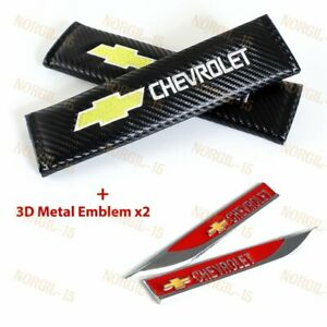 2x Carbon Embroidery Seat Belt Cover Shoulder Pads 3d Red Emblem For Chevy