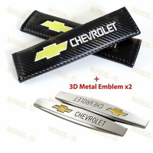 2x Carbon Embroidery Seat Belt Cover Shoulder Pads 3d Metal Emblem For Chevy
