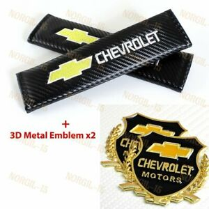 Carbon Embroidery Seat Belt Cover Shoulder Pads Vip Emblem For Chevy Chevrolet