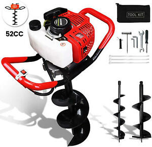 52cc 2 2hp Gas Powered Post Hole Digger Auger Fence Drill 6 Bits 2 stroke