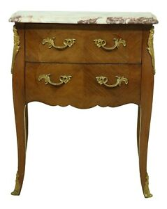 52475ec Vintage French Louis Xv Style Marble Top Nightstand