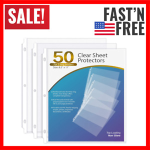 Sheet Protectors 8 5 X 11 Clear Page For 3 Ring Binder Plastic Sleeves 50 Pack