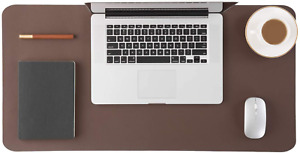 Leather Desk Pad Large Computer Desk Mat Waterproof Non Slip Brown 17x35 Inches