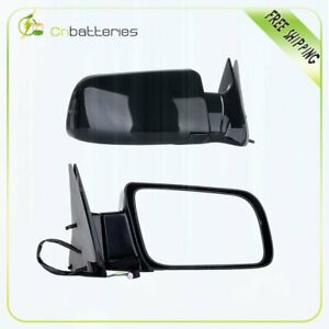 Black Power Side View Mirrors Pair Set For 88 00 Chevy Gmc Truck Rh Lh