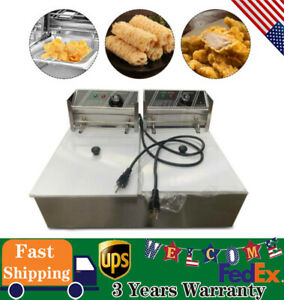 5000w 12l Stainss Steel Electric Deep Fryer Dual Tank Commercial Restaurant New