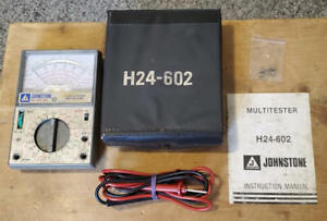 Vintage Johnstone H24 602 Analog Multi tester With Leads Case Manual