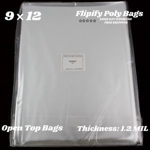 9x12 Clear Plastic Bags Packing Shipping Lay Flat Open Top Poly Baggie 1 2 Mil