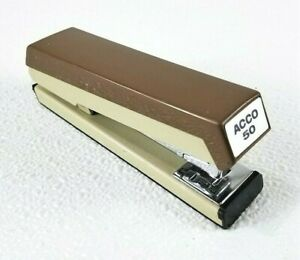 Acco Stapler Model 50 Brown cream Made In Usa Great Shape Works Vintage