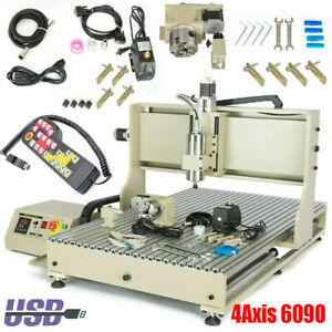 4 Axis Usb 1500w Cnc 6090 Router Engraver Milling Machine 3d Engraving Cutter Us