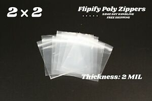 2 x 2 Clear 2 Mil Zip Bags Poly Plastic Reclosable Mini Small Baggies Jewelry