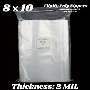 8 x10 Clear 2 Mil Zipper Bags Poly Plastic Reclosable Seal Large Zip Cloth