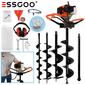 52cc Post Hole Digger 11 in 1 Set 2 stroke Gas Powered Earth Auger Fence Ground