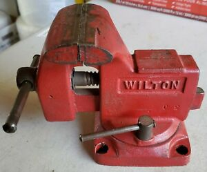 Vintage Wilton Bench Vise 3 1 2 Jaws 3 Opening Swivel Base Anvil Made In Usa
