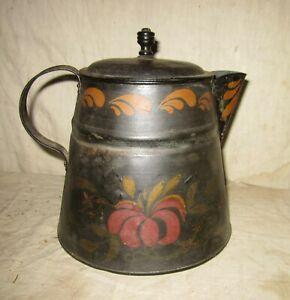 Vintage Tole Painted Early Tin Coffee Pot