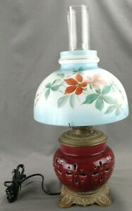 Antique Enameled Pottery Brass Oil Lamp Conversion Painted Milk Glass Shade