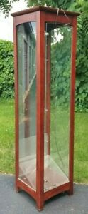 Vintage Glass And Wood Framed Vertical Display Showcase 71 Tall 17 Square