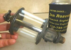 Powell Signal No 5 Flat Glass Brass Oiler Old Gas Or Steam Engine Very Nice