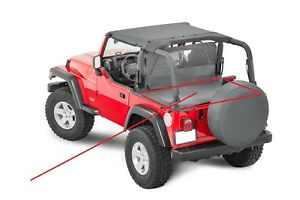 Rock Crusher 7761011 Soft Top Tonneau Cover Gray Fits 97 99 00 01 Jeep Wrangler