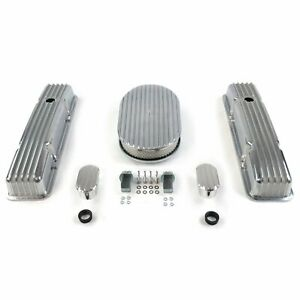 Sb Chevy 15 Finned Ac Engine Dress Up Kit Tall Valve Covers Breathers 283 350 Fits Corvette