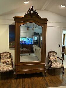Towering Louis Xv Antique French Armoire Wardrobe In Walnut W Beveled Mirror