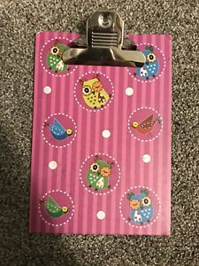 Mini Clipboard Pink With Owls Used