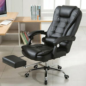 Ergonomic Big And Tall Executive Office Chair Upholstered Recliner With Footrest