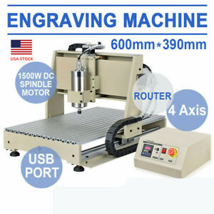 Usb 4 Axis 6040 Router Cnc Engraver Metal Milling Machine 3d 1500w Cutter 110v