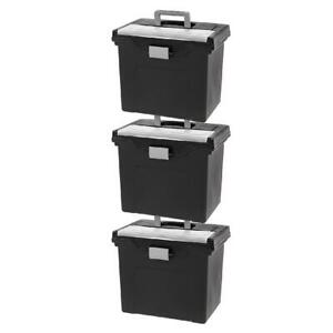 Iris Usa Letter Size Portable File Cabinet Box With Organizer Lid Black 3 Pack