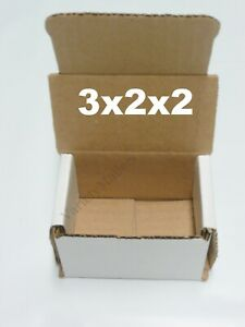50 Extra Small White Corrugated Boxes 3x2x2 Little Gift Storage Boxes