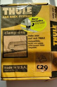 New Thule C29 Clamp On Set 4 Factory Bar Ski Snowboard Roof Rack Mount Clamps