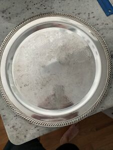 Vintage Silver Plated Round Ornate Serving Tray Platter 15