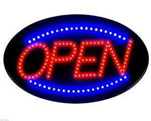 Jumbo 24 X 13 Led Neon Sign With Motion open B30 Red blue