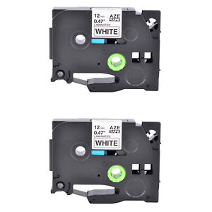 2pk Tz Tze231 Black On White Label Tape For Brother P touch Pt e550w P900 1 2