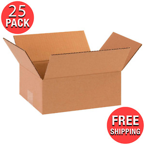 25 pack 8 X 6 X 2 Flat Cardboard Corrugated Shipping Boxes Moving Box New