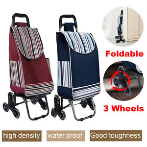Folding 3 wheel Stair Climber Shopping Grocery Utility Carry Cart W Bag Outdoor