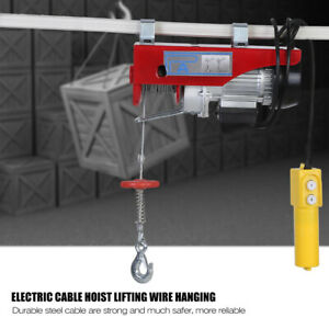 220 440lbs Electric Cable Hoist Heavy Duty Motor Overhead Lifting Hanging Crane