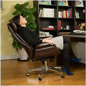 Pu Leather Adjustable High back Office Chair Home Executive Armrest Brown