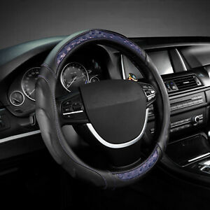 Car Wheel Cover Steering Wheel Cover Leather For 15 38cm Accessories Black Blue