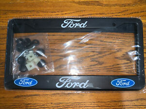Ford Logo License Plate Frame Set Of 2 Black Includes Installation Tools New