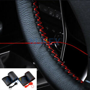 Universal Red Genuine Leather Diy Car Steering Wheel Cover With Needles Thread