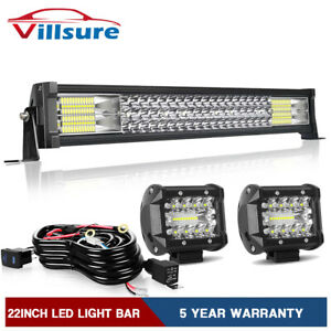 20 22inch Led Light Bar Spot Flood Combo 4 Pod Offroad For Jeep Truck Suv 24