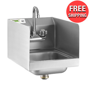 Commercial Wall Mounted Hand Sink W Gooseneck Faucet And Side Splash 12 X 16