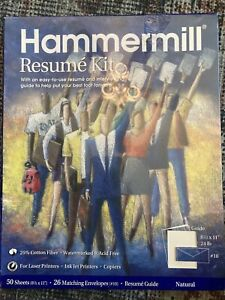 New Hammermill Resume Stationery Kit Paper Envelopes Guide Natural 50 Sheets