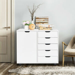 Single Door 5 Drawers Mdf With Pvc Wooden Filing Cabinet Storage Cabinet White