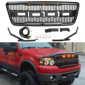 Black Grille Raptor Style Grill For 2004 2008 Ford F150 W Led Lights Letters
