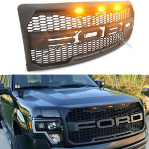 For Ford F150 Grille 2009 2014 Raptor Style Front Bumper Grill W Led Matte Black