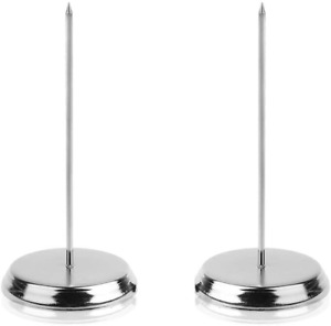 Bluecell 2pcs Silver Color Desk Straight Rod Paper Holder Spike Stick Receipts