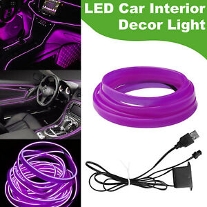2m Usb Car Interior Atmosphere Wire Strip Cool Light Led Decor Lamp Accessories