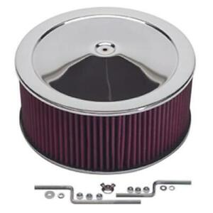 Summit Racing Chrome Air Cleaner With Reusable Filter 14 Dia Round 239462