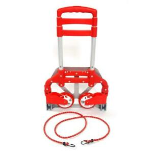 Us 170 Lbs Luggage Cart Folding Dolly Collapsible Trolley Push Hand Truck Red